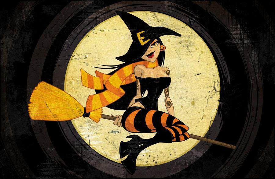 "... è , sarà epifania ... che tutte le feste lascia sulla via... "" - Pagina 2 Witch_pin_up_by_burningeyestudios-d5c698q"